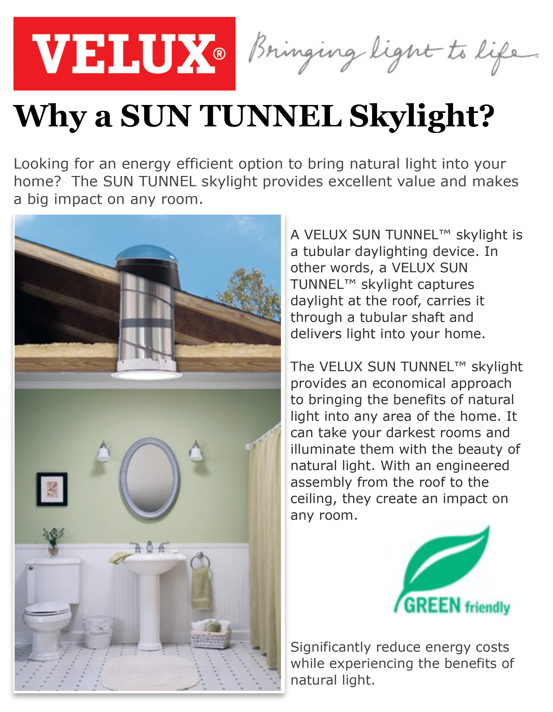 Velux SUN TUNNEL Skylights